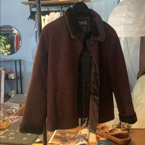 Vintage Faux suede and fur lined collared jacket
